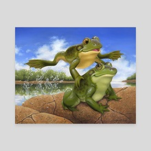 Leap Frogs - Canvas by Jennifer DiArenzo