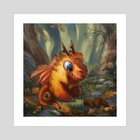 Tiny Autumn Dragon - Art Print by Johanna Rupprecht