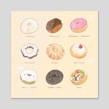 Donuts - Cream Colour Version - Acrylic by Hazel Ho