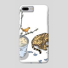 Sleeping cat and singing bird - Animal Lover - Nature - Tranquility - Phone Case by Calos Marques