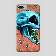 Metallic Blue Cat Skull - Phone Case by Kat Powell