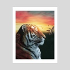 tiger with humming bird - Art Print by ethereal  designs