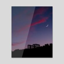 Purple Sky above the Temple of Poseidon - Acrylic by Raphael Lopes