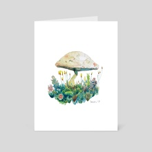 Mushroom and succlulents - Art Card by Ethan Yazel