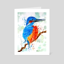 Kingfisher Waiting for Prey - Art Card by Sebastian Grafmann