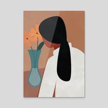 Modern Boho Woman with Flowers - Acrylic by Ariani Anwar