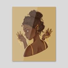 dripping in gold - Acrylic by Emma Kielgas