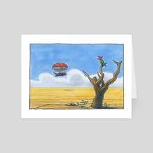 Dirigible Above the Flogorian Plains - Art Card by Ugly Ink