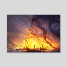 The Ocean is on Fire - Acrylic by Jorge Jacinto