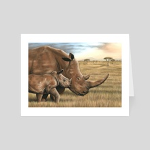 Rhino and Calf - Art Card by Richard Macwee