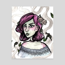 Zombie Girl - Canvas by Brittany  Moselina