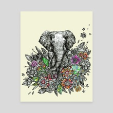 Spirit Animal: Elephant. - Canvas by Fanitsa Art
