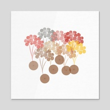 Floating flowers - Acrylic by Navita Williams