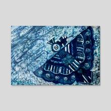 Blue bird - Acrylic by Sergey Kozienko