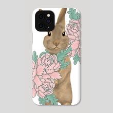 Bunny in the peony garden - Phone Case by Alex Creates