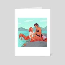 Shirt Stealing Mermaid Girlfriends - Art Card by Sarah Baker