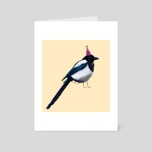 Party Magpie - Art Card by Isabel Hughes