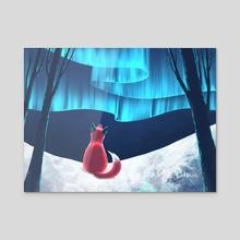 Fox watching the northern lights - Acrylic by Birgitte Johnsen