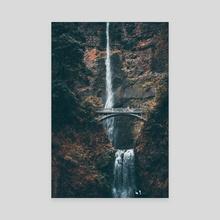 Multnomah Falls in Autumn - Canvas by john cousart