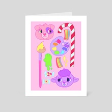 Skribbleheart and Sweetheart - Art Card by Elinor Henness