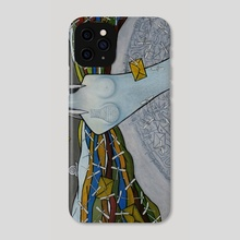 Mother Nature. Symbolic surreal art with ethnic elements - Phone Case by Carole Newman