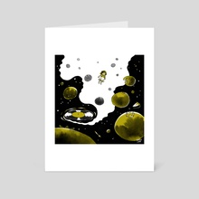 Blueberries In Space - Art Card by Elaine Chen