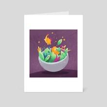 Dinosaur Salad - Art Card by Ffion Evans