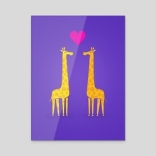 Cute cartoon giraffe couple in Love (Purple Edition) - Acrylic by Philipp Rietz