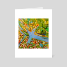 Imaginary map of Turin - Art Card by federico cortese