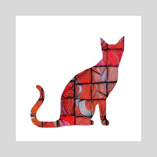 Quilted Cat by Brontosaurus Art