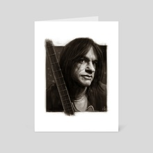 Malcolm Young Portrait - Art Card by Andre Koekemoer