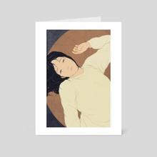 A woman with a white sweater - Art Card by Sai Tamiya