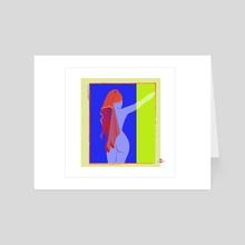 Blue Towel - Art Card by Joanny C. Chavarria