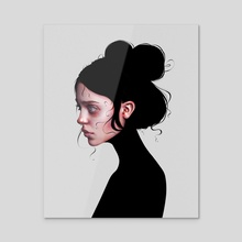 The Staring Girl - Acrylic by Laura H. Rubin