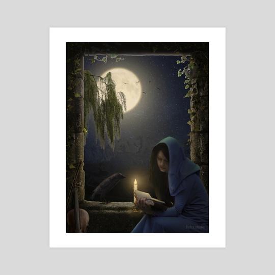 Reading in the moonlight by Dejan Travica