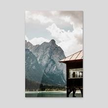 Lake House in the Mountains Landscape - Acrylic by Luigi Veggetti