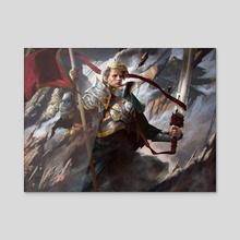 Veteran Warleader - Battle for Zendikar - Acrylic by Josu Hernaiz