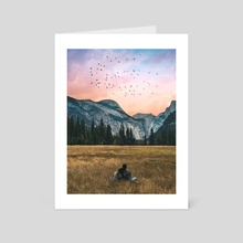 Couple Looking Into a Perfect Landscape - Art Card by 016 Graphics