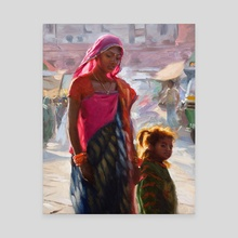 Mother with Child - Jodhpur India - Canvas by Pavel Sokov