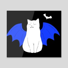 Vampire cat with wings and bat / design 6 - Acrylic by Emii Emilova
