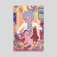 Rick and baby Morty - Canvas by Boya Sun