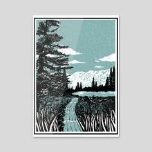 Road to Lake - Acrylic by Itoko Nakahara