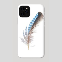 Blue Feather Drawing - Phone Case by Emmy Kalia