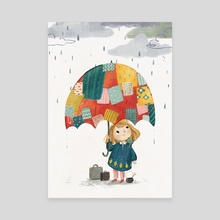Patchwork Umbrella - Canvas by Lucy Fleming