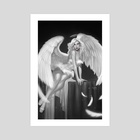 Penny For Your Soul: Burlesque Angel, noir version - Art Print by Ula Mos