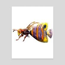Merbug no.6 - Murder Hornet + Angel Fish  - Canvas by Crystal Smith
