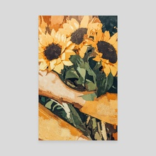 Holding Sunflowers - Canvas by 83 Oranges