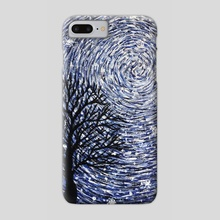 Starry night. Landscape, acrylic painting. Energy painting. The cycle of the universe. Snowfall. Snow. - Phone Case by Dmytro Rybin