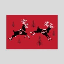 Undead Reindeer - Canvas by Jennifer Smith