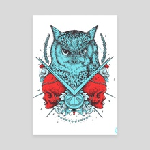 Owl & Skulls - Artwork I drew for Muisti Band Edition 2 - Canvas by Kacper  Gilka